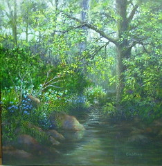 """Brookside Blues"" an acrylic painting (Elizabethc) Tags: flowers blue trees shadow summer sun sunlight reflection green art nature water leaves sunshine river painting pond rocks stream artist acrylic michigan branches roots foliage shade grasses brook wildflowers dappled battlecreek theunforgettablepictures elizabethcrabtree crabtreeoriginals"