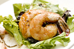 Roasted Shrimp on Greens