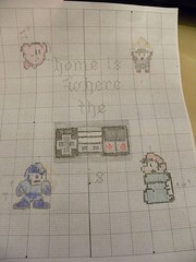 colored pencils and graph paper sketch (Chickpea981) Tags: kirby crossstitch nintendo mario gift link zelda nes megaman oldschoolnes spritestitch nintendocrossstitch