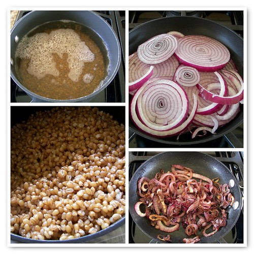 Cooking Wheat Berries and Caramelizing Onions