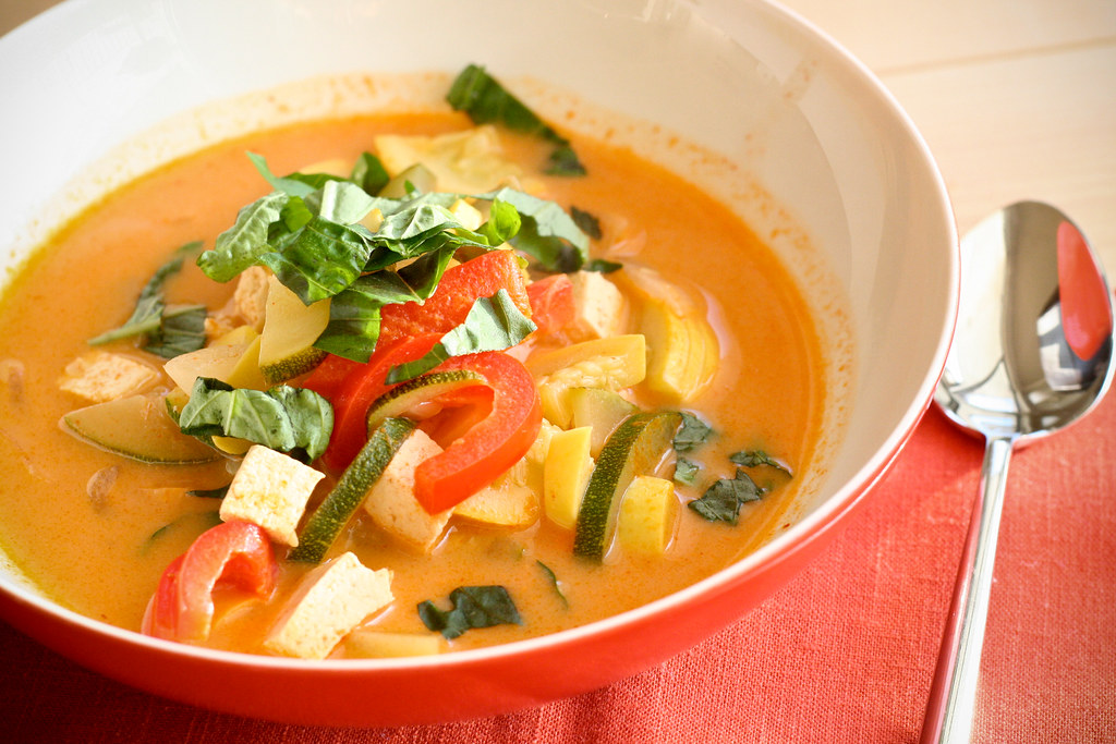 Lighter Summer Squash Red Curry with Basil