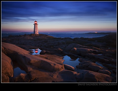 47 seconds of Peggy's Cove (Dave the Haligonian) Tags: ocean longexposure sunset sea sky lighthouse canada fog clouds coast fishing bravo novascotia village dusk atlantic shore maritime peggyscove copyrightallrightsreserved dsc0763 davidsaunders davethehaligonian 47secondsofpeggyscove