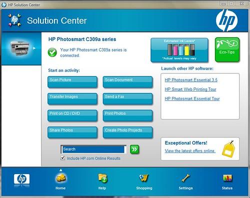 screencap HP PhotoSmart Premium Fax C309 Series