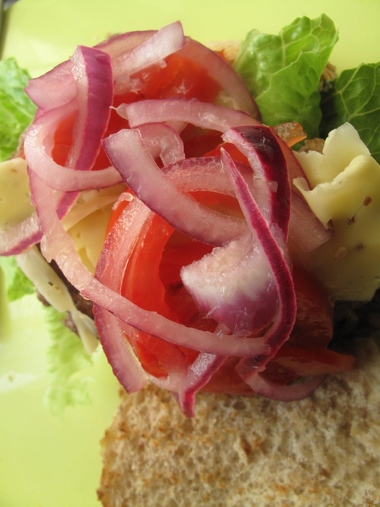 Lime-pickled onions on my hamburger