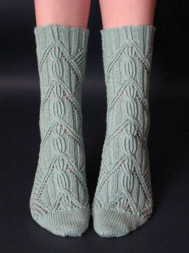 Cabled socks by Cookie A
