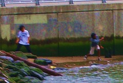 Skippin' School (Tim Schreier) Tags: nyc boys manhattan 10012 hudsonriver throwing skippingrocks skippingschool