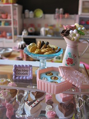 bakery chocolate shop (Pinks & Needles (used to be Gigi & Big Red)) Tags: pink flowers cute rabbit bunny scale kitchen glass cookies cake silver dessert toys miniatures cupcakes aqua candy oven display crystal tea chocolate flamingo treats mixer fake sugar desserts plastic macaroon stove ingredients fancy eggs faux sweets vase icing tray teapot setup dishes teacup rement flour candies addiction lollipops pretend hotpad petitefour gigiminor