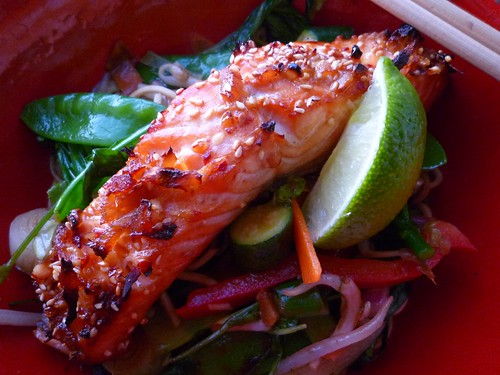 grilled salmon stirfry