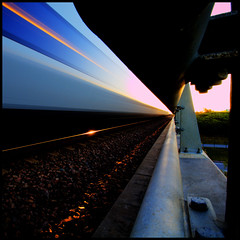Good Morning Malm - Train to Copenhagen - resundstget (anders.rorgren) Tags: morning bridge color train sunrise square malm resundsbron goodmorningmalm