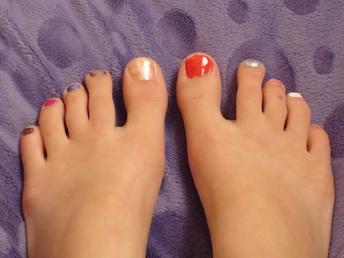Fun painted tween girl toes