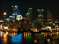 Pittsburgh at Night (PaPeR.cLiP) Tags: city longexposure skyline night canon buildings dark landscape lights penguins downtown pittsburgh cityscape pennsylvania nighttime s2is canonpowershots2is steelers allegheny threerivers thepoint westernpennsylvania g20 westernpa cityofbridges g20summit