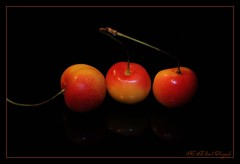 One, two and three ... (**Mary**) Tags: stilllife food fruit cherries blackground trio onblack