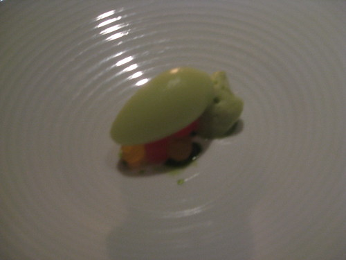 "French Laundry - August 2009 - Honey Dew Melon Sorbet, Compressed Watermelon, and Basil ""Nuage"""