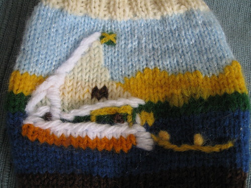 socks I made for Captain to commemorate our wonderful trip.  Photo links to blog post about the socks.