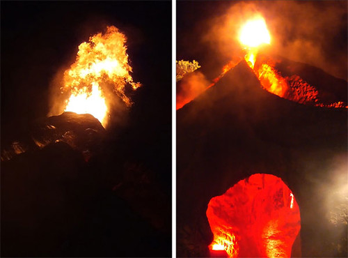 Erupting minigolf volcano
