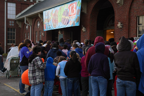 The line to get into the 23rd Annual Bob Gregorys Coats For Kids stretched around the Northwest Pavillion, all the way to the 38th Street Entrance.