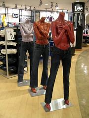 shy ladies (moksimil) Tags: hot sexy mannequin headless naked store cologne shy nackt jeans hide cover lee barefoot dummy schaufensterpuppe kopflos koln einkauf scheu scham barfus moksimil schamen