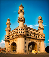 Charminar (cishore) Tags: street old blue sky india building monument yellow print construction antique stock char hyderabad cishore kishore minar mecca gettyimages charminar hyd architechure deccan osmania nagarigari unanu kishorencom masjit