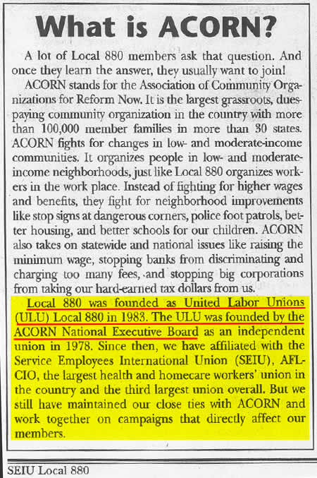 "A Clarification For The Wall Street Journal: ACORN And The SEIU Are Not Just ""Close"""