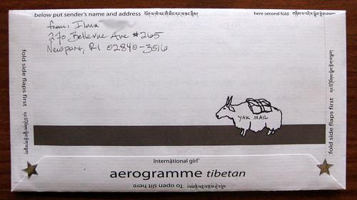 Tibetan yak mail aerogramme, back