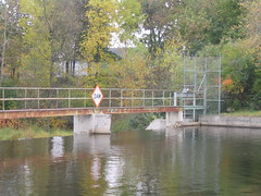 Dam on the Sheboygan River in Kiel, WI (Andrew T's Archives) Tags: sign wisconsin river dam wi 2009 kielwi
