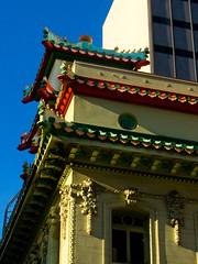 Chinatown Corner (lefeber) Tags: sanfrancisco california city windows urban architecture facade pagoda downtown chinatown shadows baroque roofline eveninglight