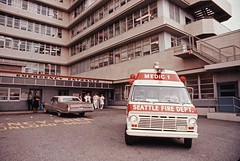 Medic One unit at hospital, 1973