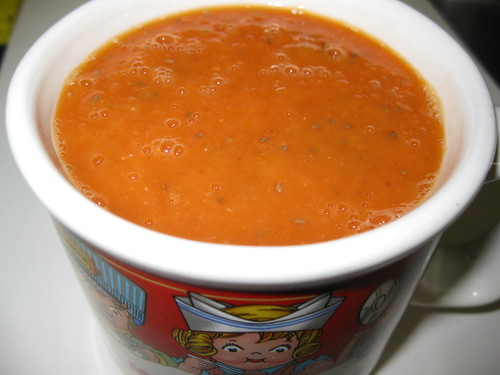 Tomato mango soup with chia seed