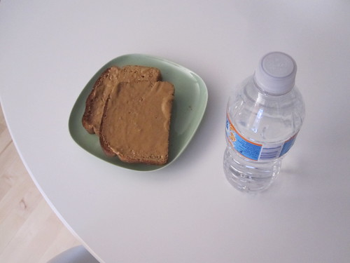 Peanut butter toast and orange water