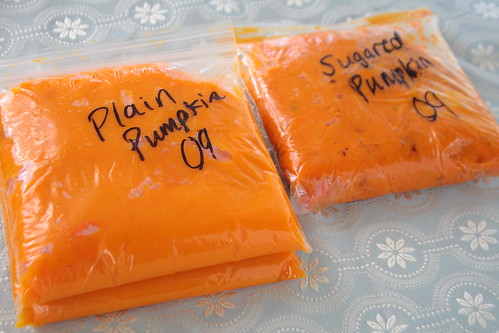 Pumpkin puree in bags