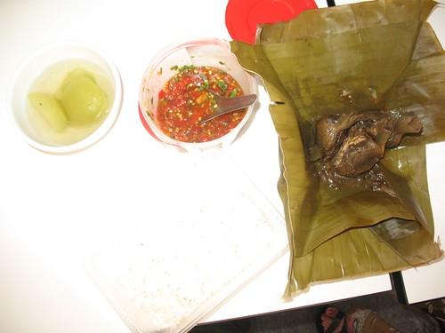 Soup, chili sauce, and Mok Dhok Khai