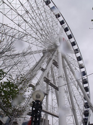 Birmingham Big Wheel in the rain - tree cover and rain drops on lens