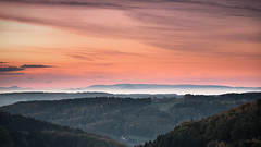 Over the Hills (andywon) Tags: trees sunset sun mist fall nature colors fog clouds germany landscape deutschland hills schwarzwald blackforest vosges eveningglow freiamt badenwrttemberg vogesen explored kuriseck gettyimagesgermanyq1