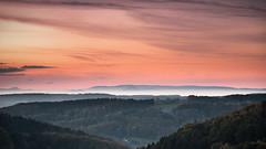 Over the Hills (andywon) Tags: trees sunset sun mist fall nature colors fog clouds germany landscape deutschland hills schwarzwald blackforest vosges eveningglow freiamt badenwürttemberg vogesen explored kuriseck gettyimagesgermanyq1