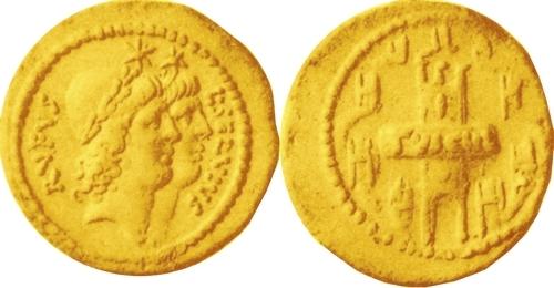 515-01 Aureus Sulpicia heads Dioscuri view of Tusculum