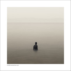 """Another Place"" (Ian Bramham) Tags: longexposure winter sea bw seascape statue photography dawn photo nikon fineart antonygormley anotherplace d40 ianbramham"