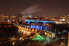 Mississippi River at night (ChipM2008) Tags: longexposure minneapolis mississippiriver stonearchbridge