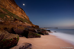 Early Morning on the Beach (-yury-) Tags: ocean longexposure morning sea moon seascape beach water night landscape rocks sydney australia monavale warriewood