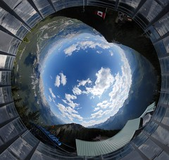 Look up to the sky and seeeeeeeee (Seb Przd) Tags: blue sky panorama mountain canada mountains clouds rockies pano sunny 360 terminal upper alberta handheld banff gondola sulphur 360x180 360 sulphurmountain canadianrockies hugin enblend sebprzd sbprzd banff36010stereographic2