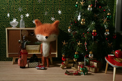 Happy Holidays from TADA's Revolution (TADA's Revolution) Tags: christmas dog miniature handmade oneofakind ooak crochet craft christmastree plush softie gifts fox stuffedanimal kawaii rement amigurumi diorama crafting dollhouse stuffie megahouse