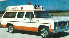 Raised Roof Chevrolet Suburban Ambulance, photograph in 1973 advertisement, made by Star-Line Ambulance Corporation (Dr. Mo) Tags: truck pcs ambulance medicine wreck bls ems emt hearse combination funeralhome firstaid mortuary funeraldirector mortician emergencymedicine staroflife ambulancedriver deathcare drmo jimmoshinskie suburbanambulance funeralcustoms professionalcarsociety professionalvehicle raisedroofamblance scenesafety