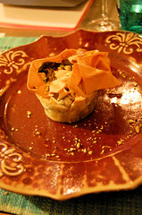 phyllo cup with broccoli and pistachios