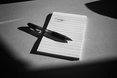Tuesday (EXPLORED) (mfhiatt) Tags: dscf02780217jpg tuesday pen pad paper shadow highcontrast 365the2017edition 3652017 day52365 21feb17