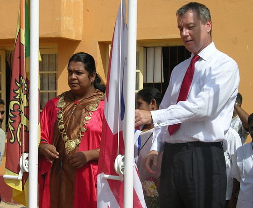 Raising of Sri Lanka / UK Flags