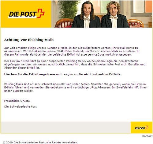 Die Post, Info-Mail vom 23.07.2009