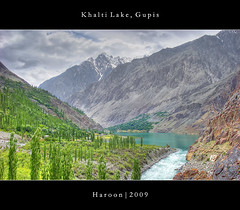 Khalti Lake, Gupis - HDR (Haroon Mustafa) Tags: blue trees pakistan sky lake love water beautiful beauty clouds blessings rocks hills blessing dri pinetrees hdr allah gilgit haroon gushingwater gupis khalti phundar
