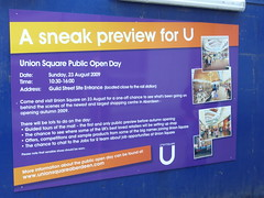 August 2009: Continued construction at Union Square, Guild Street, Aberdeen showing advert for Union Square open day on 23rd August 2009 (iainh124a) Tags: uk bus retail train mall lumix scotland railway shoppingcentre panasonic aberdeen hammerson tz7 millerconstruction dmczs3 iainh124a dmctz7 zs3
