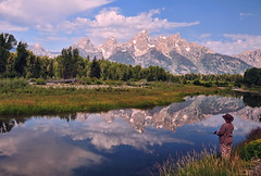 A Moment of Calm at Schwabacher (Jeff Clow) Tags: vacation reflection lady landscape fishing bravo searchthebest getaway snakeriver wyoming grandtetonnationalpark schwabacherlanding 1exp jacksonholewyoming ©jeffrclow