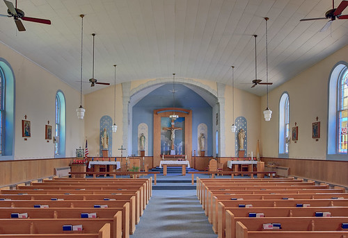 Saints Philip and James Roman Catholic Church, in River aux Vases, Missouri, USA - nave
