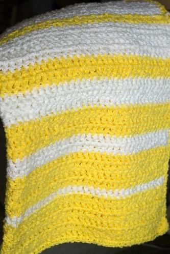 popcorn stripe crochet blanket